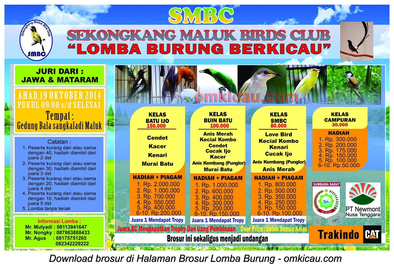 Brosur Lomba Burung Berkicau SMBC, Sumbawa Barat, 19 Oktober 2014