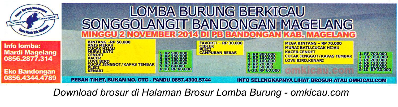 Brosur Lomba Burung Berkicau Songgolangit, Magelang, 2 November 2014