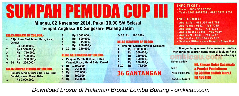 Brosur Lomba Burung Berkicau Sumpah Pemuda Cup III, Malang, 2 November 2014