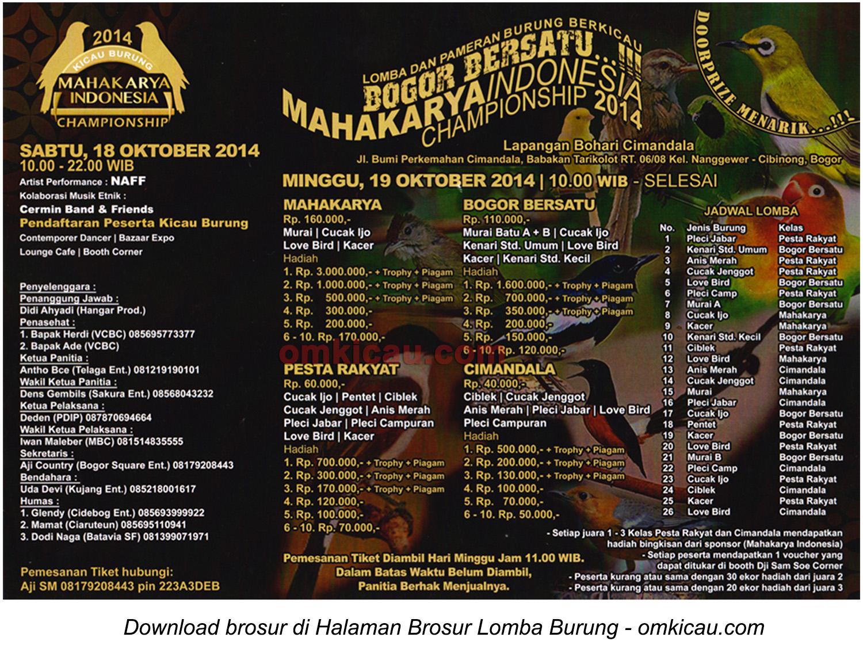 Brosur Lomba Burung Mahakarya Indonesia Bogor Bersatu, Bogor, 19 Oktober 2014