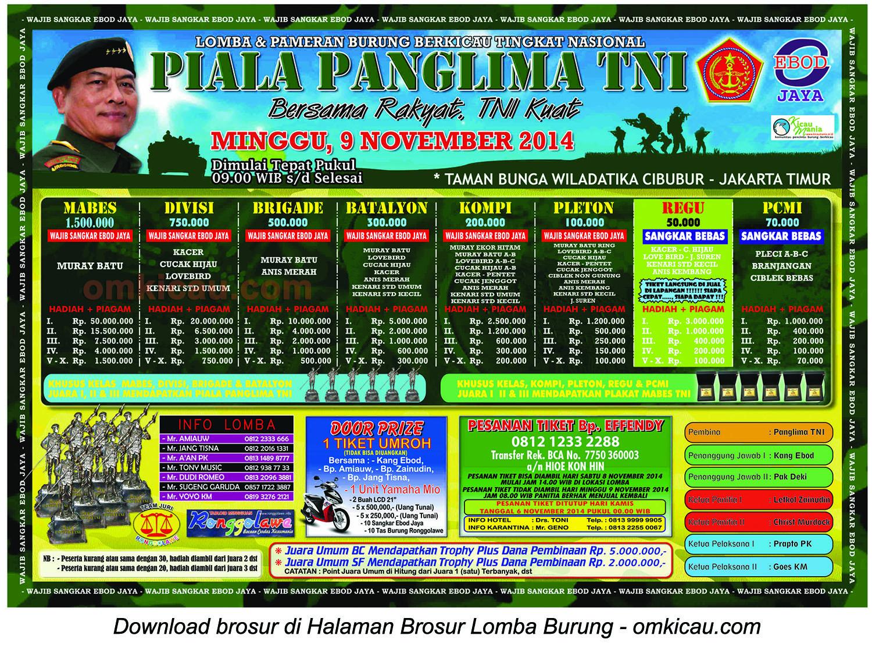 Brosur Lomba Burung Piala Panglima TNI Jakarta Timur, 9 November 2014