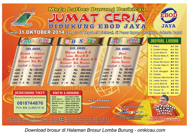 Brosur Mega Latber Jumat Ceria Asteg, Jakarta Barat, 31 Oktober 2014