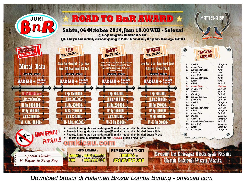Brosur Road to BnR Award Mattena BF, Depok, 4 Oktober 2014