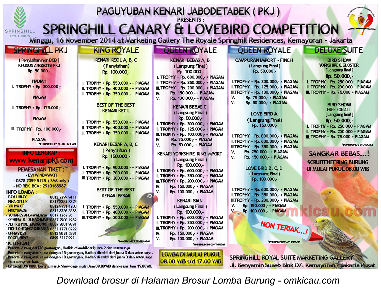 Brosur Springhill Canary & Lovebird Competition, Jakarta, 16 November 2014