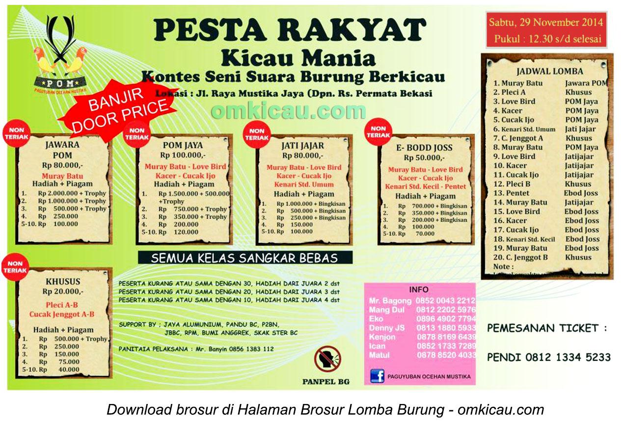 Brosur Latpres Pesta Rakyat POM Bekasi, 29 November 2014