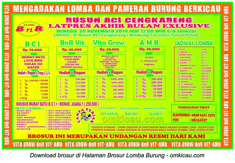 Brosur Latpres Akhir Bulan Rusun BCI Cengkareng, Jakarta Barat, 30 November 2014