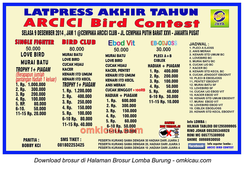 Brosur Latpres Akhir Tahun Arcici Bird Contest, Jakarta Pusat, 9 Desember 2014
