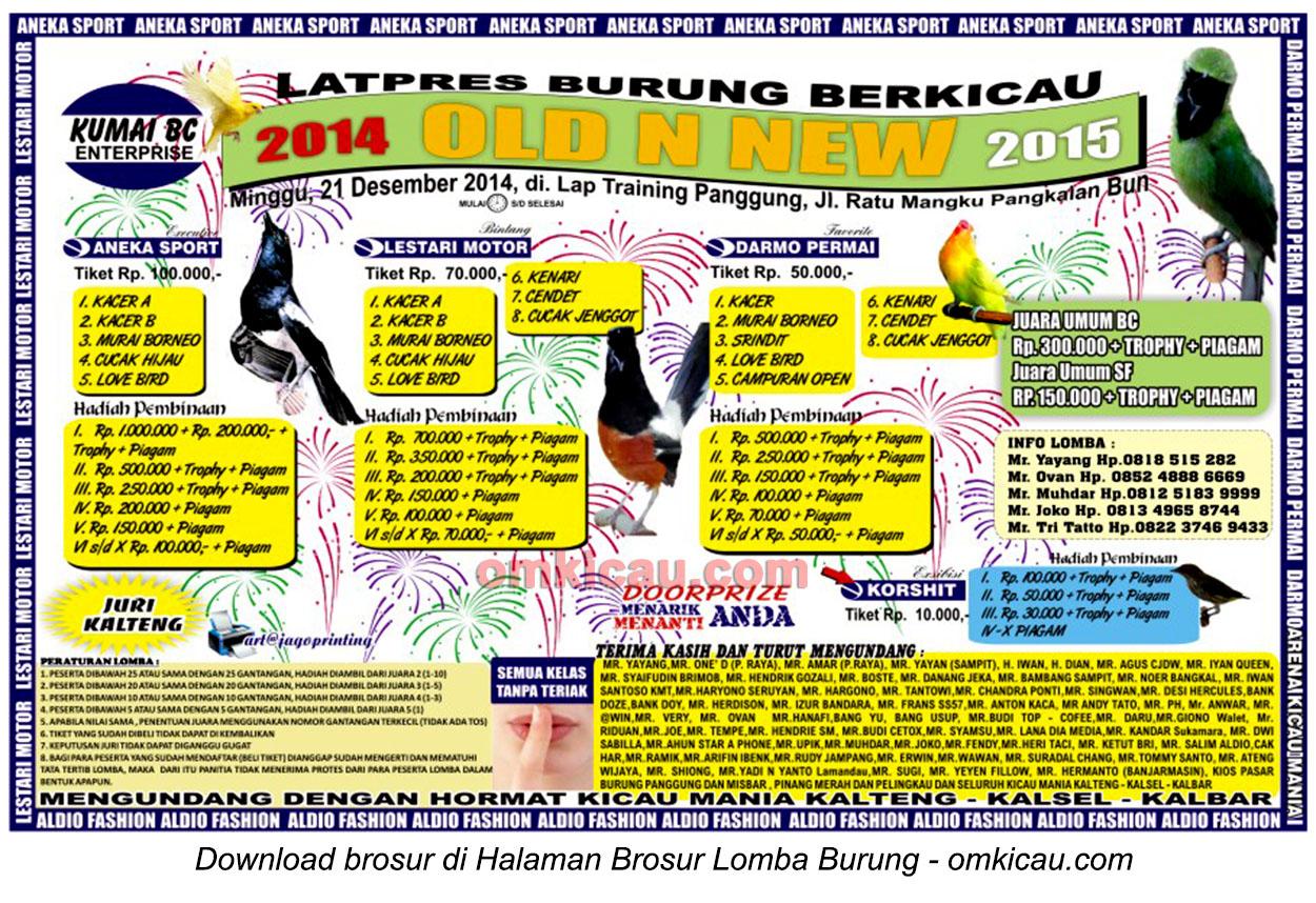 Brosur Latpres Burung Berkicau Old n New, Pangkalanbun, 21 Desember 2014