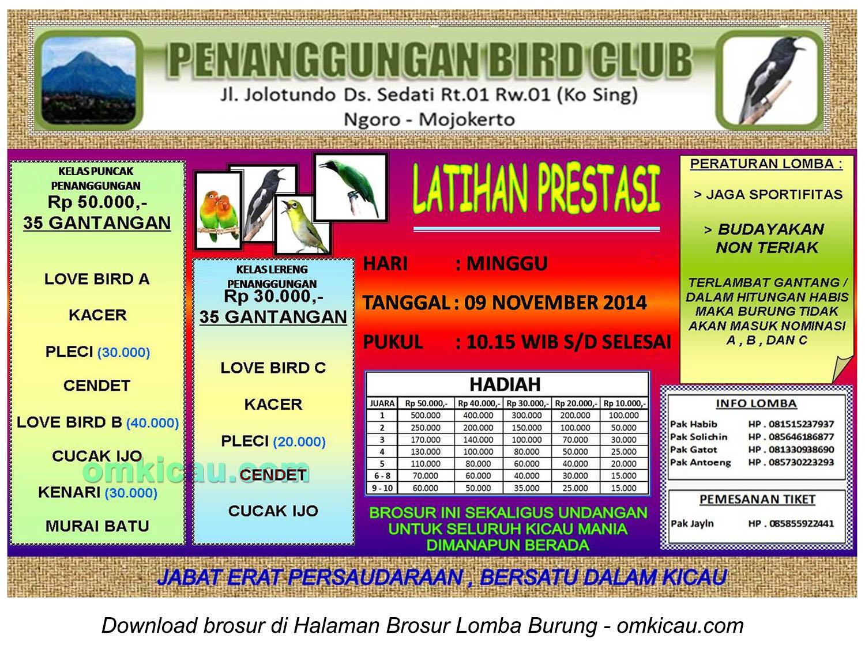 Brosur Latpres Burung Berkicau Penanggungan BC, Mojokerto, 9 November 2014