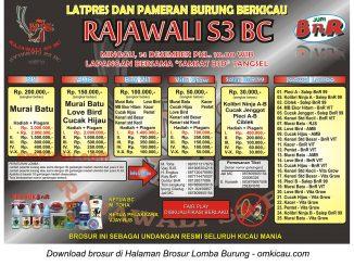 Brosur Latpres Burung Berkicau Rajawali S3 BC, Tangsel, 14 Desember 2014