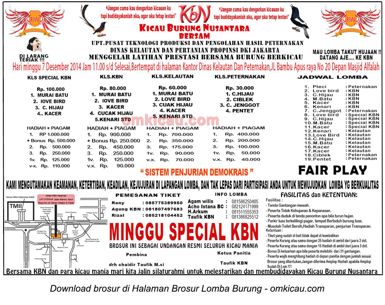 Brosur Latpres Minggu Special KBN, Jakarta, 7 Desember 2014