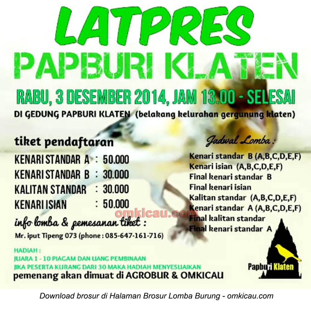 Brosur Latpres Papburi Klaten, 3 Desember 2014