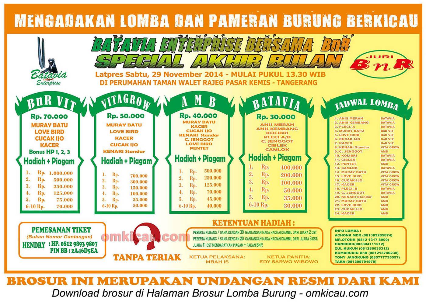 Brosur Lomba Burung Batavia Enterprise Special Akhir Bulan, Tangerang, 29 November 2014