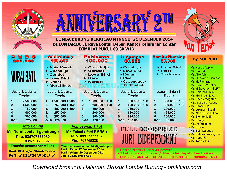 Brosur Lomba Burung Berkicau Anniversary 2th PMBS, Surabaya, 21 Desember 2014