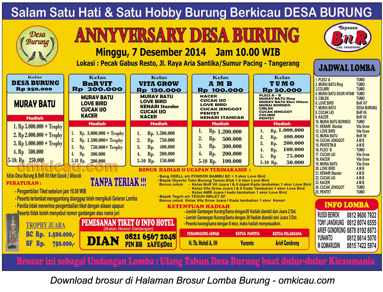 Brosur Lomba Burung Berkicau Anniversary Desa Burung, Tangerang, 7 Desember 2014