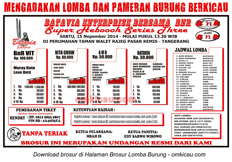 Brosur Lomba Burung Berkicau Batavia Enterprise, Tangerang, 15 November 2014