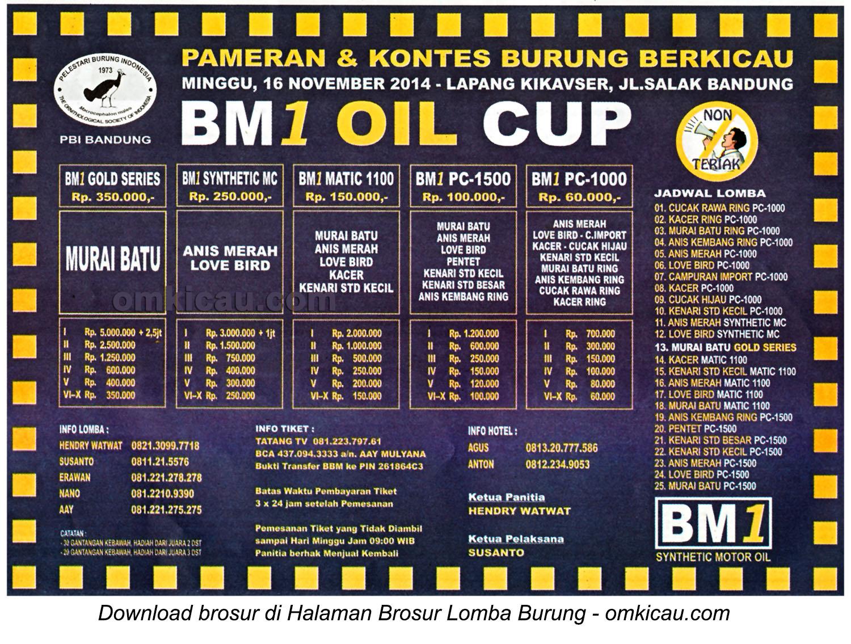 Brosur Lomba Burung Berkicau BM1 Oil Cup, Bandung, 16 November 2014