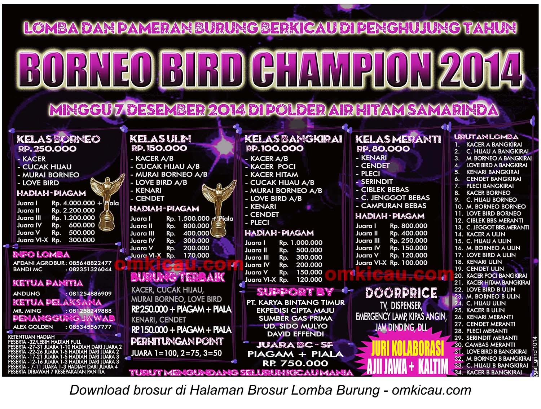 Brosur Lomba Burung Berkicau Borneo Bird Champion 2014, Samarinda, 7 Desember 2014