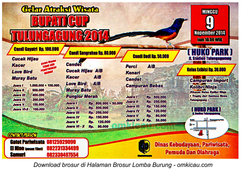 Brosur Lomba Burung Berkicau Bupati Cup, Tulungagung, 9 November 2014