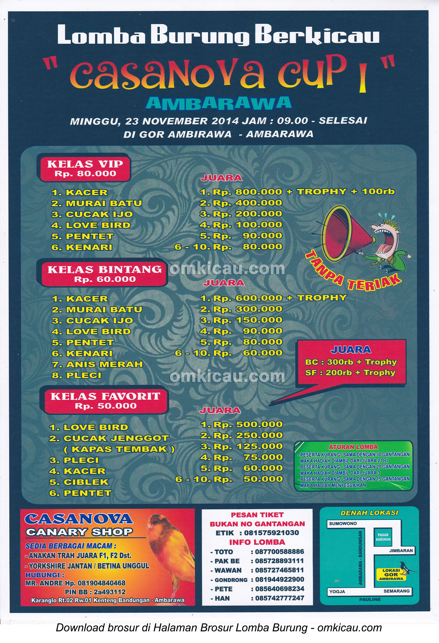 Brosur Lomba Burung Berkicau Casanova Cup I, Ambarawa, 23 November 2014