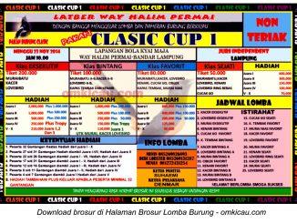 Brosur Lomba Burung Berkicau Classic Cup I - Way Halim Permai, Bandar Lampung, 23 November 2014