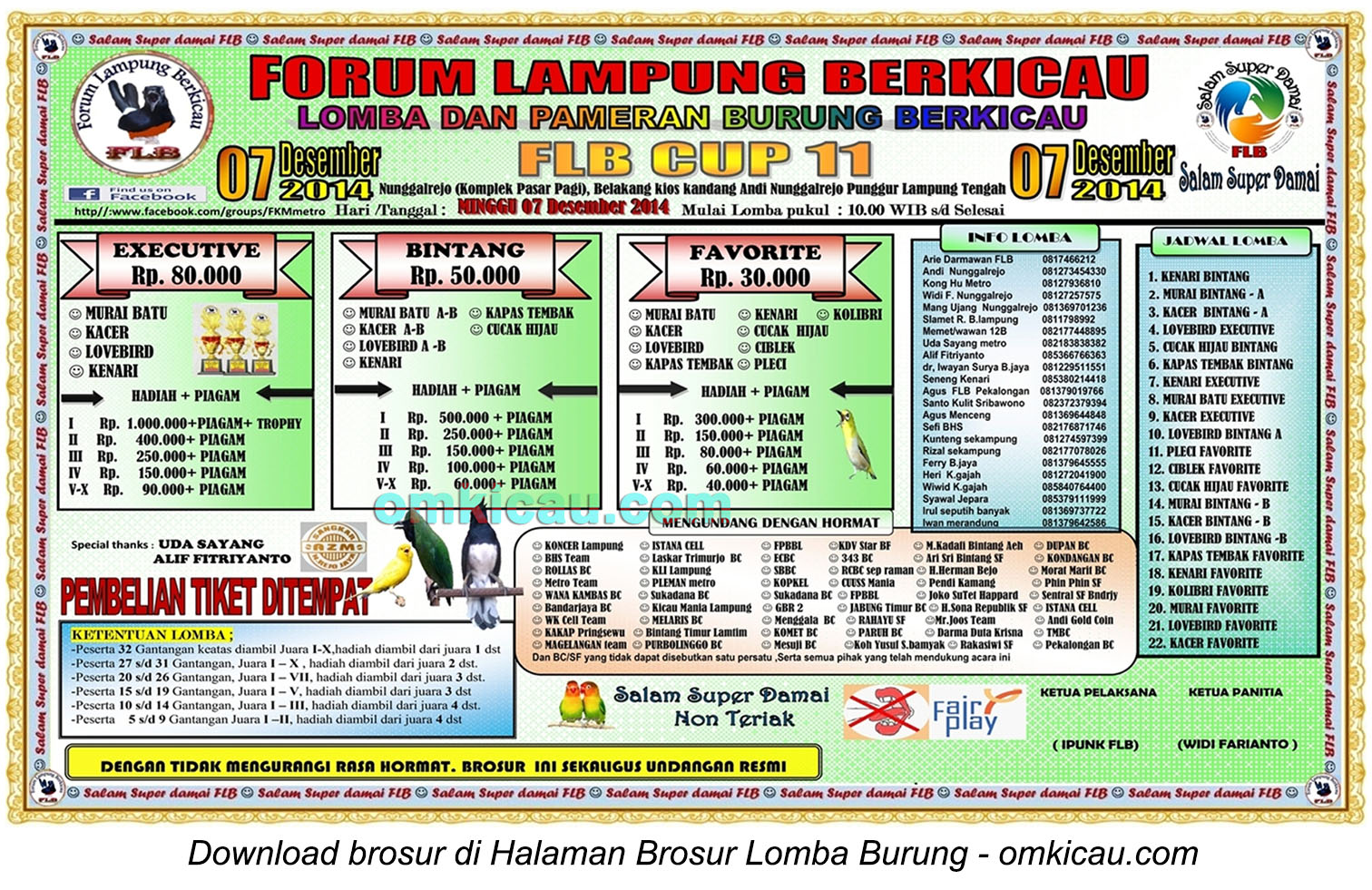 Brosur Lomba Burung Berkicau FLB Cup 11, Lampung Tengah, 7 Desember 2014