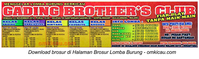 Brosur Lomba Burung Berkicau Gading Brother's Club, Malang, 23 November 2014