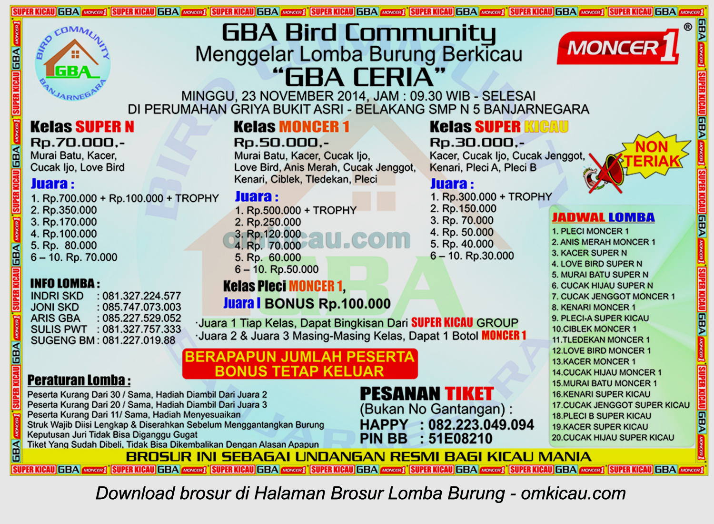 Brosur Lomba Burung Berkicau GBA Ceria, Banjarnegara, 23 November 2014