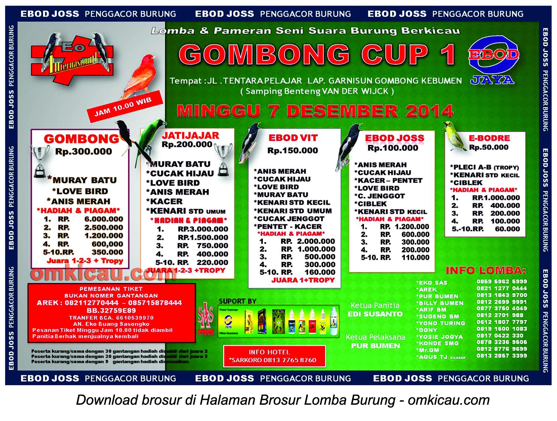 Brosur Lomba Burung Berkicau Gombong Cup 1 Kebumen, 7 Desember 2014