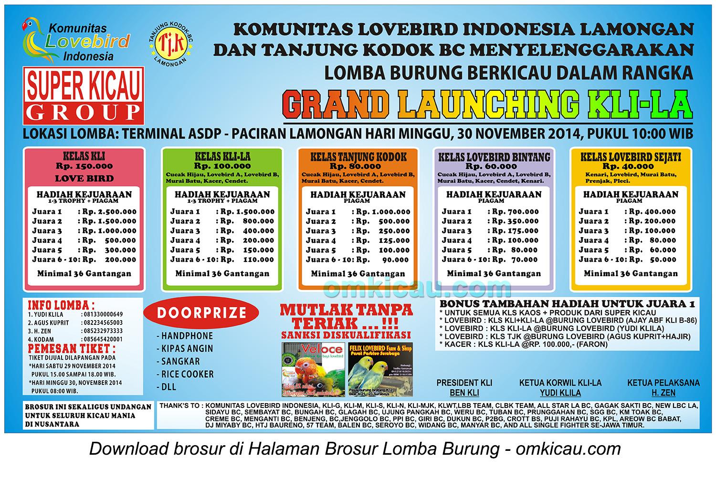 Brosur Lomba Burung Berkicau Grand Launching KLI-LA, Lamongan, 30 November 2014
