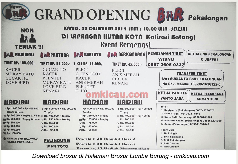 Brosur Lomba Burung Berkicau Grand Opening BnR Pekalongan, 25 Desember 2014