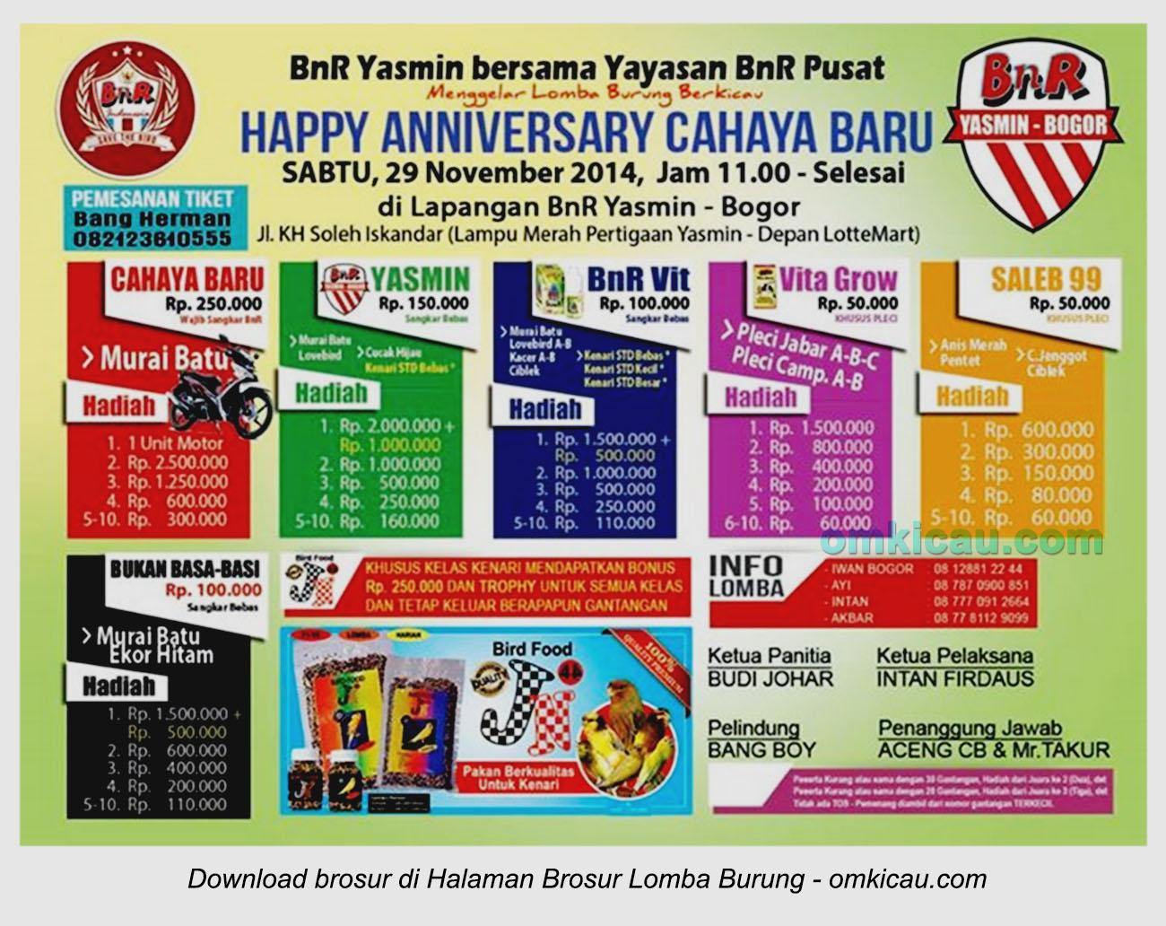 Brosur Lomba Burung Berkicau Happy Anniversary Cahaya Baru, Bogor, 29 November 2014