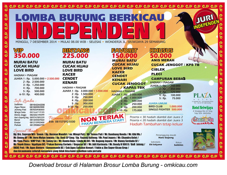 Brosur Lomba Burung Berkicau Independen 1, Semarang, 7 Desember 2014