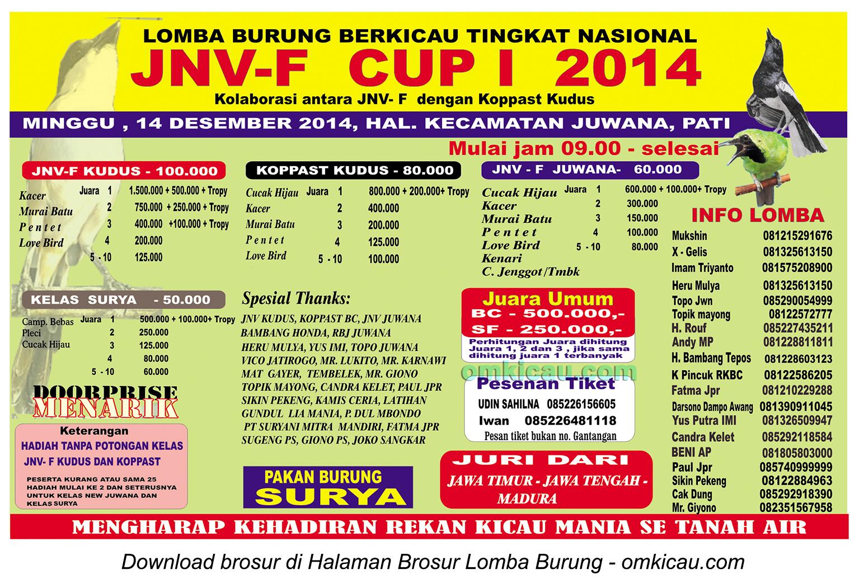 Brosur Lomba Burung Berkicau JNV-F Cup I, Pati, 14 Desember 2014