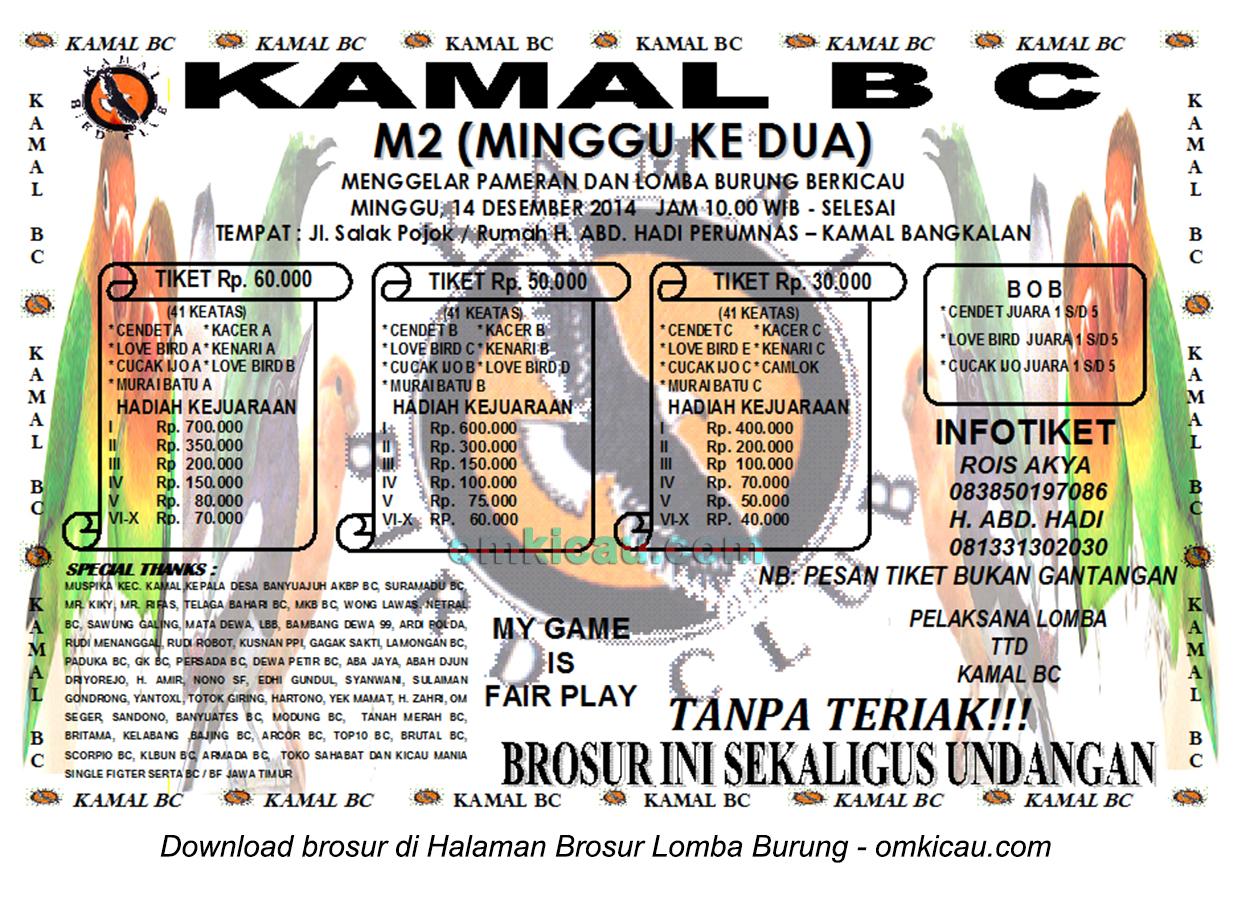 Brosur Lomba Burung Berkicau Kamal BC, Bangkalan, 14 Desember 2014