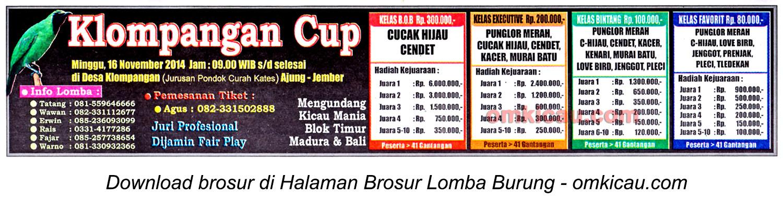 Brosur Lomba Burung Berkicau Klompangan Cup, Jember, 16 November 2014
