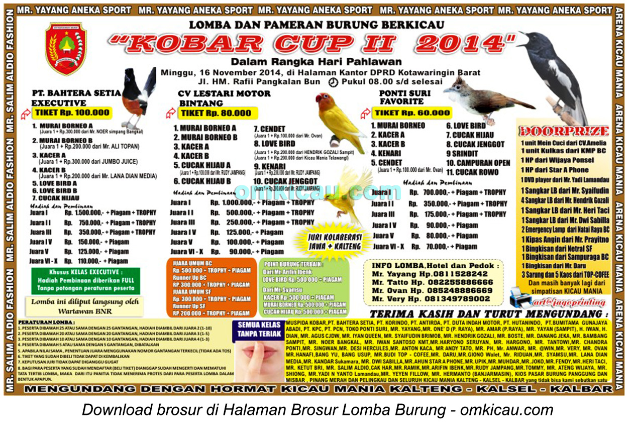 Brosur Lomba Burung Berkicau Kobar Cup II, Kotawaringin Barat, 16 November 2014