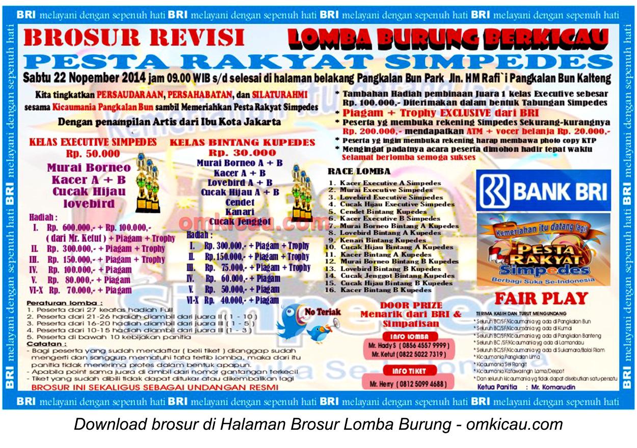 Brosur Lomba Burung Berkicau Pesta Rakyat Simpedes, Pangkalanbun, 22 November 2014
