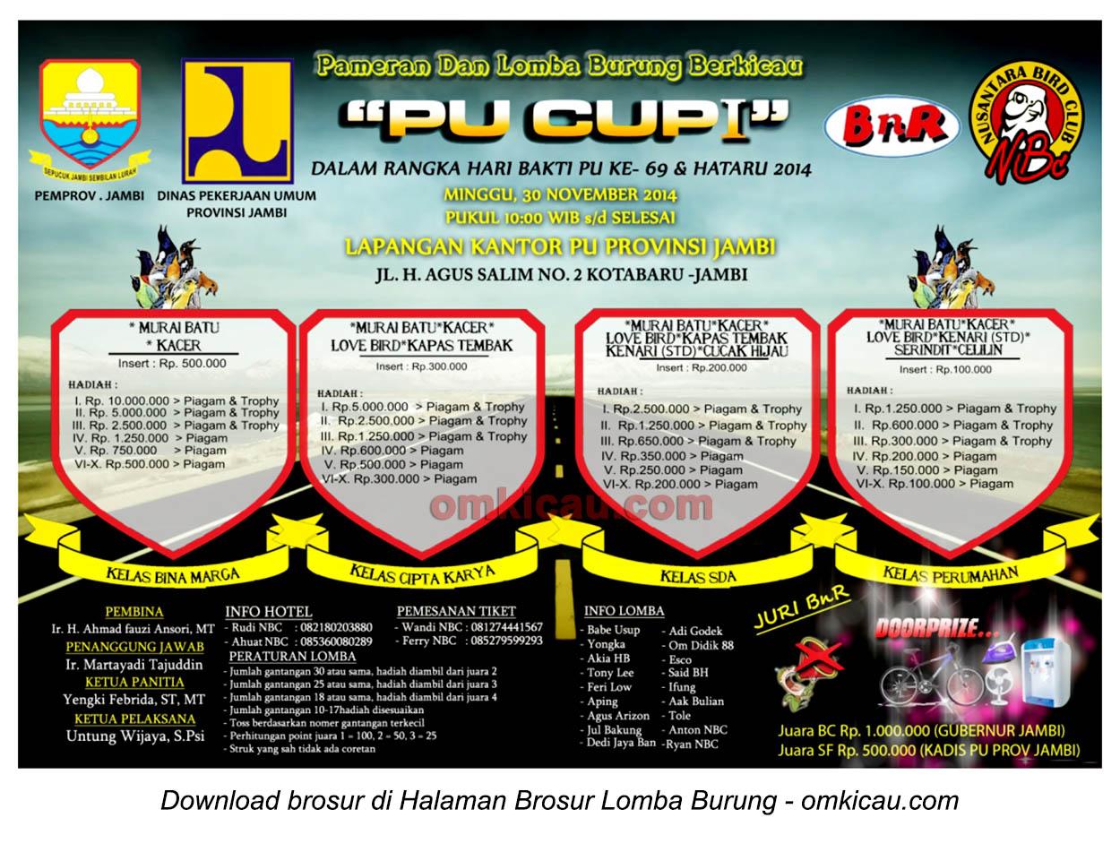 Brosur Lomba Burung Berkicau PU Cup I, Jambi, 30 November 2014