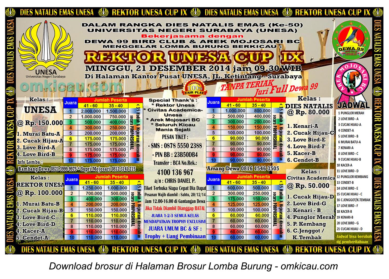 Brosur Lomba Burung Berkicau Rektor Unesa Cup IX, Surabaya, 21 Desember 2014