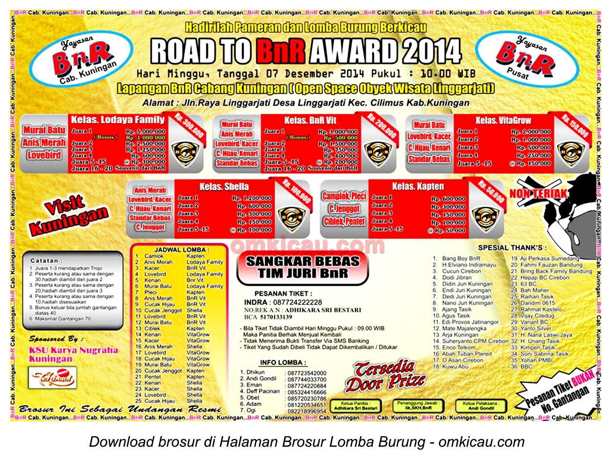 Brosur Lomba Burung Berkicau Road to BnR Award, Kuningan, 7 Desember 2014