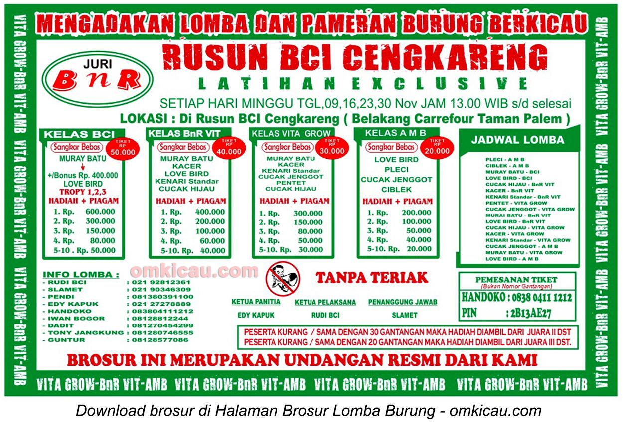 Brosur Lomba Burung Berkicau Rusun BCI Cengkareng, Jakarta Barat, 9 November 2014