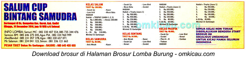 Brosur Lomba Burung Berkicau Salum Cup Bintang Samudra, Kediri, 14 Desember 2014