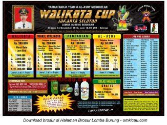 Brosur Lomba Burung Berkicau Wali Kota Cup, Jakarta Selatan, 14 Desember 2014