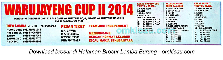 Brosur Lomba Burung Berkicau Warujayeng Cup II, Nganjuk, 7 Desember 2014