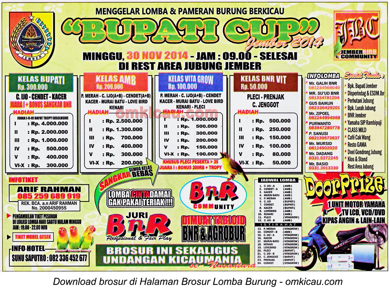 Brosur Lomba Burung Bupati Cup Jember 2014, Jember, 30 November 2014