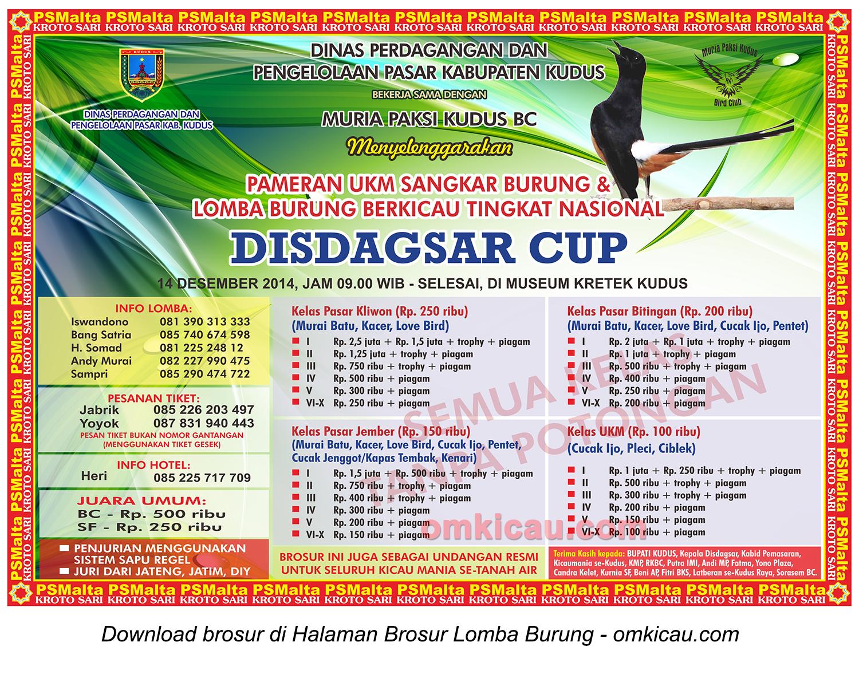 Brosur Lomba Burung Disdagsar Cup Kudus, 14 Desember 2014