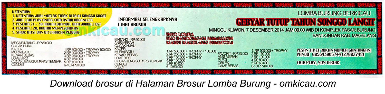 Brosur Lomba Burung Gebyar Tutup Tahun Songgolangit, Magelang, 7 Desember 2014