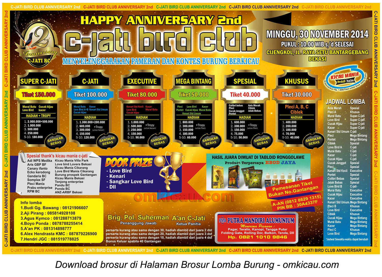 Brosur Lomba Burung Happy Anniversary 2nd C-Jati BC, Bekasi, 30 November 2014