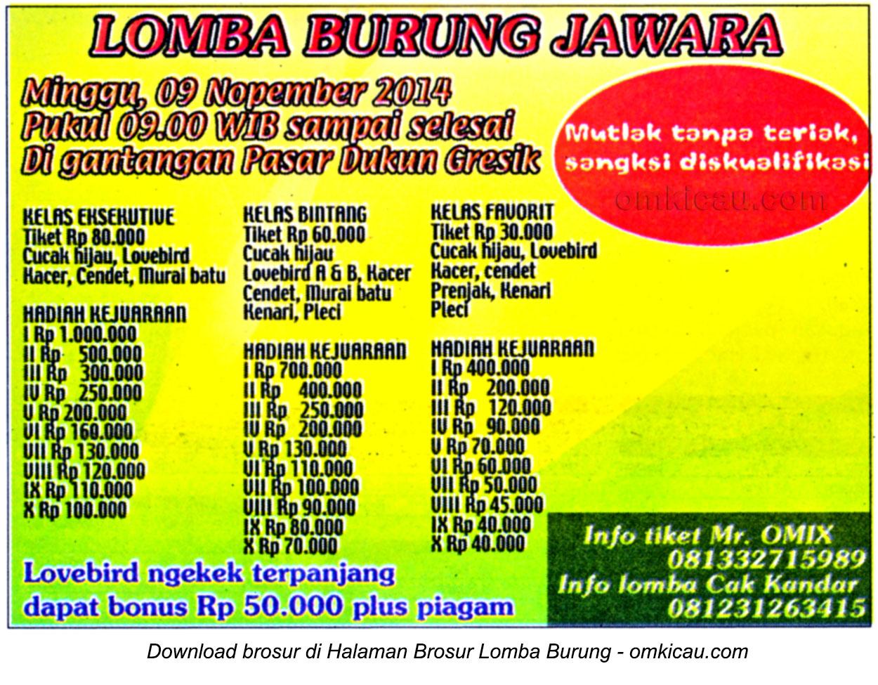 Brosur Lomba Burung Jawara, Gresik, 9 November 2014